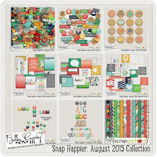 Digital Scrapbook - Snap Happier: August 2015 Collection  by Bella Gypsy Designs #bellagypsy, #digiscrap
