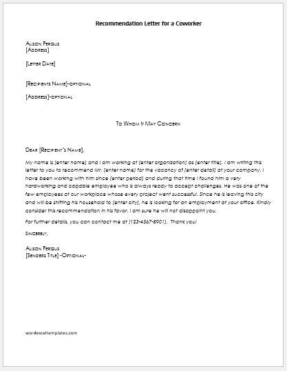 Letter Of Recommendation for A Colleague Luxury Re ...