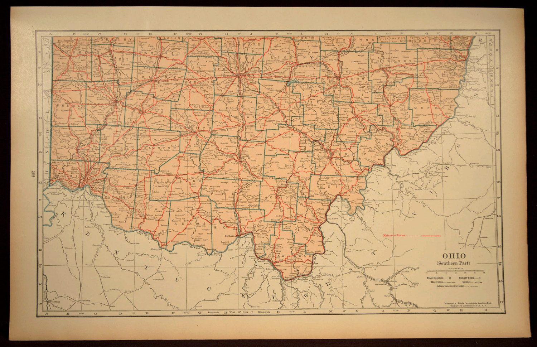 Southern Ohio Map LARGE Ohio Road Map Wall Art Decor   Map Wall ...