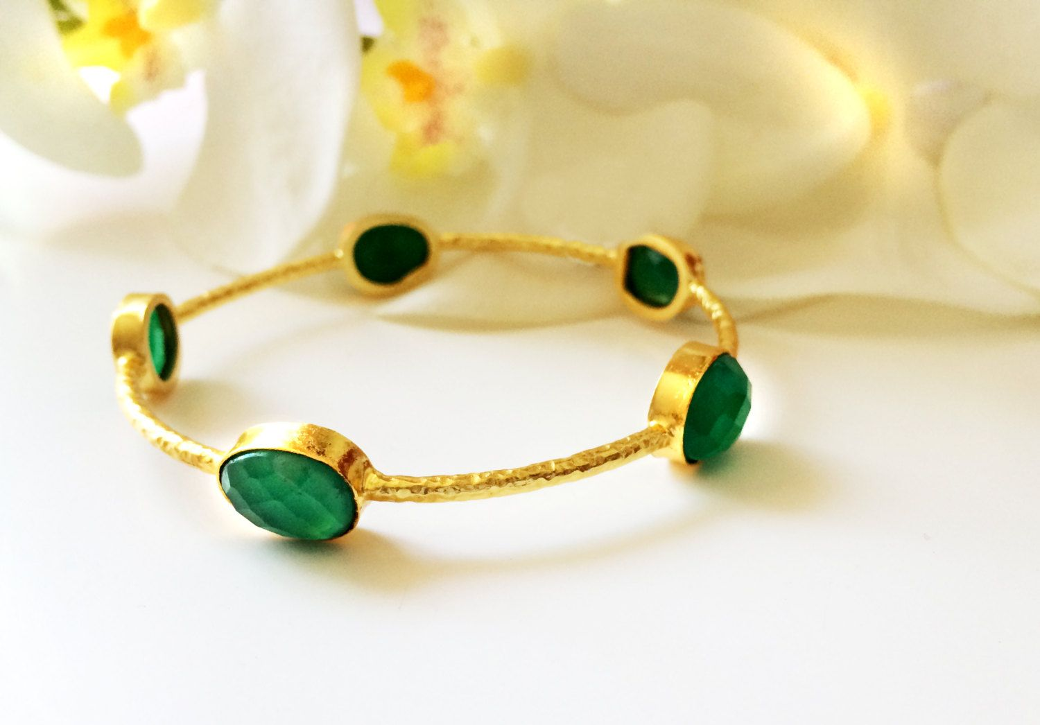 Green u gold bangle bracelet stacking banglesgreen onyx bracelet