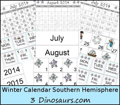 Free Winter Calendar for Southern - 3Dinosaurs.com   Homeschool ...