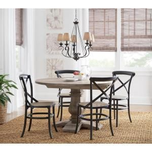 b383aa9935c Home Decorators Collection Aldridge Antique Grey Round Dining Table-NB024AG  - The Home Depot