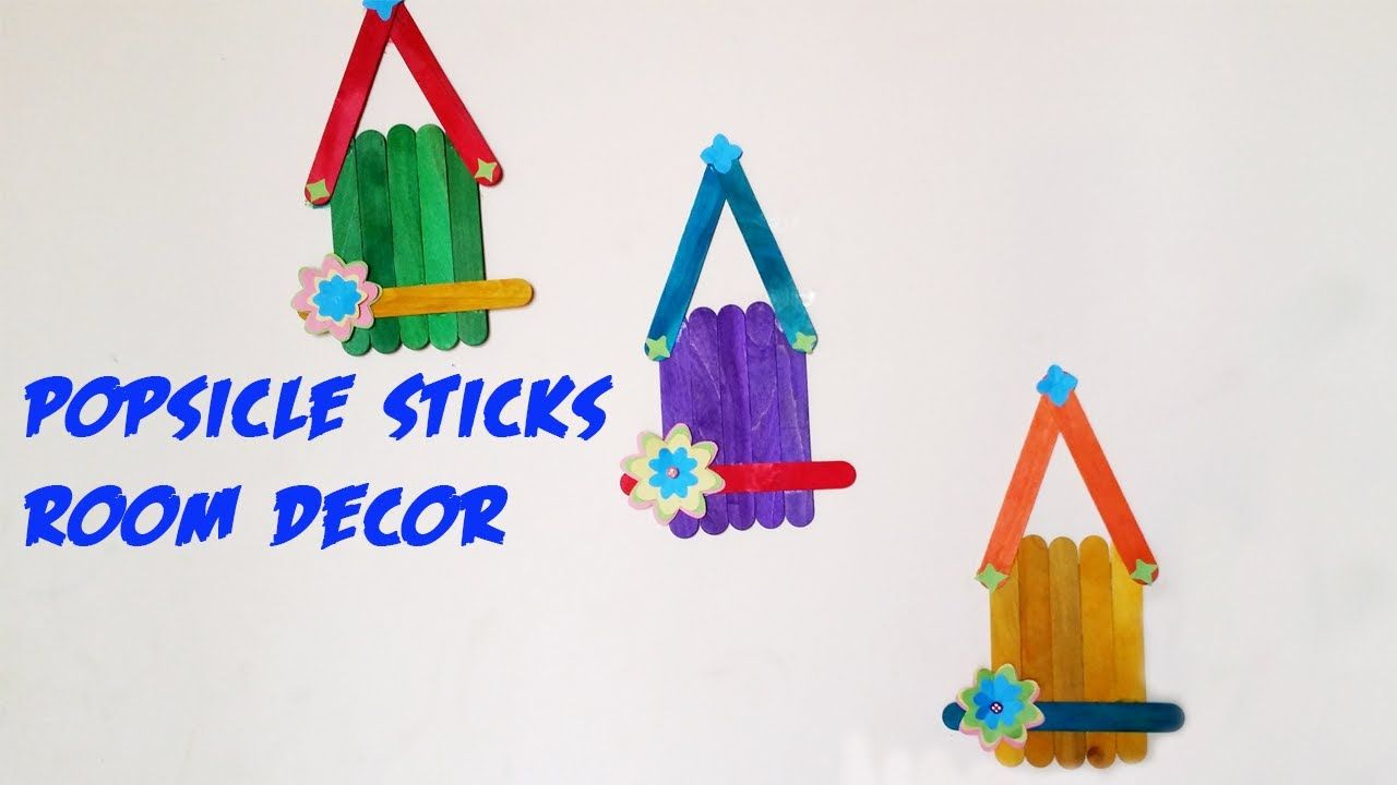 DIY Wall Hanging Craft Ideas Using Colourful Paper   Popsicle Sticks ...