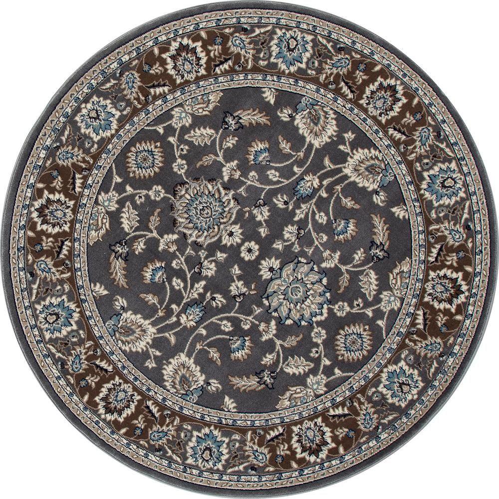 Art Carpet Kensington Jacobean Border Gray 5 Ft X 5 Ft Round