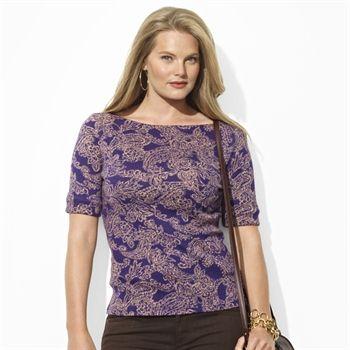 Lauren Ralph Lauren Plus Size Cotton Paisley Boat Neck Top #VonMaur #LaurenRalphLauren #Printed