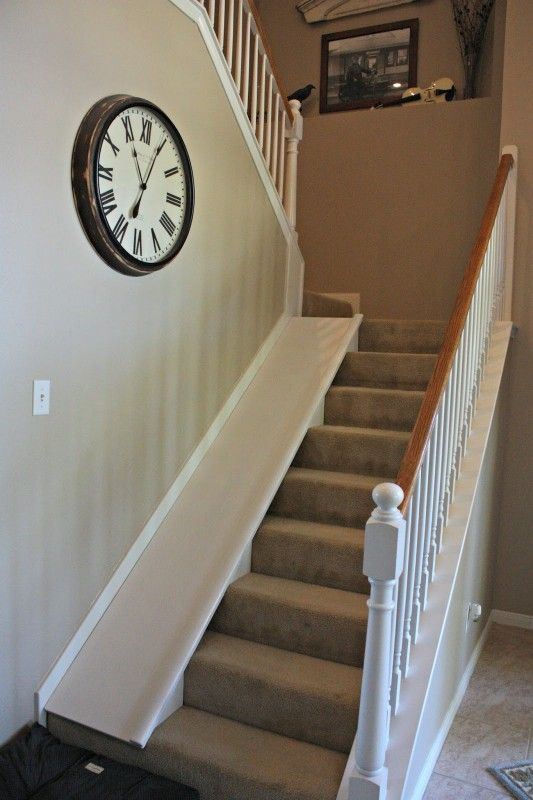 Remodelaholic Diy Stair Slide Or How To Add A Slide To Your Stairs Diy Stairs Stair Slide Indoor Slides