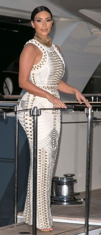 Kim at a yacht party