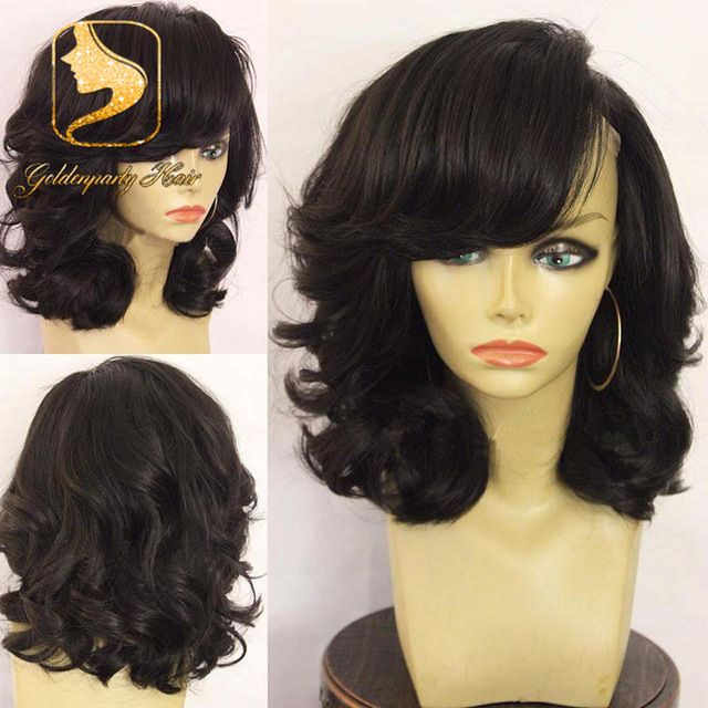 Hot sale virgin brazilian hair glueless full lace short human hair wigs  with bangs short wavy bob lace front wig for black women 27c7a3c79c