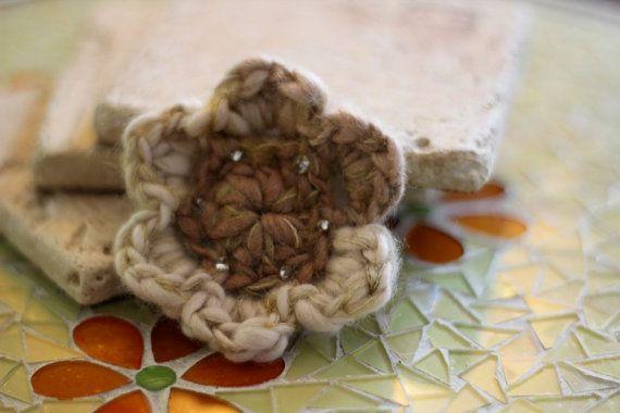 Beaded Brooch Crocheted Flower Soft  Autumn by Willowfolk on Etsy