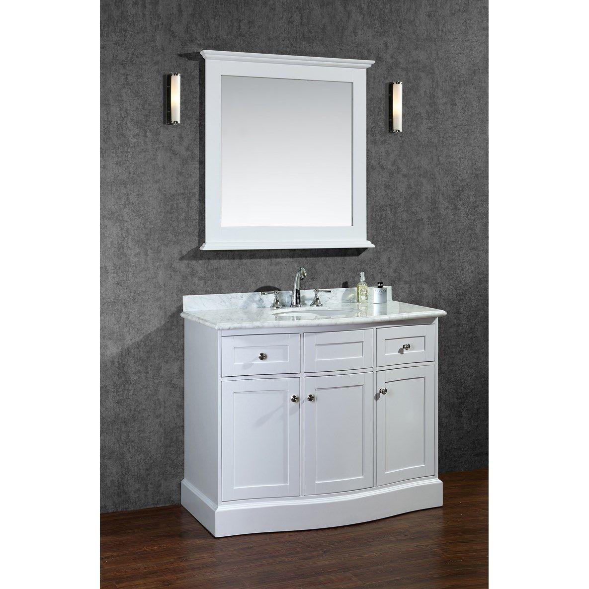 Ariel Bath Scmon42swh Montauk 42 Single Sink Bathroom Vanity Set With Mirror In Alpine White V Single Sink Vanity White Vanity Bathroom Bathroom Sink Vanity