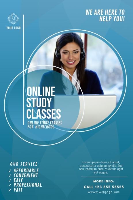 Online Study Classes Flyer Template Postermywall In 2020 Poster Template Design Flyer Design Layout Pamphlet Design