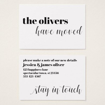 Black \ White Modern Fun Change of Address Card - script gifts - change of address templates