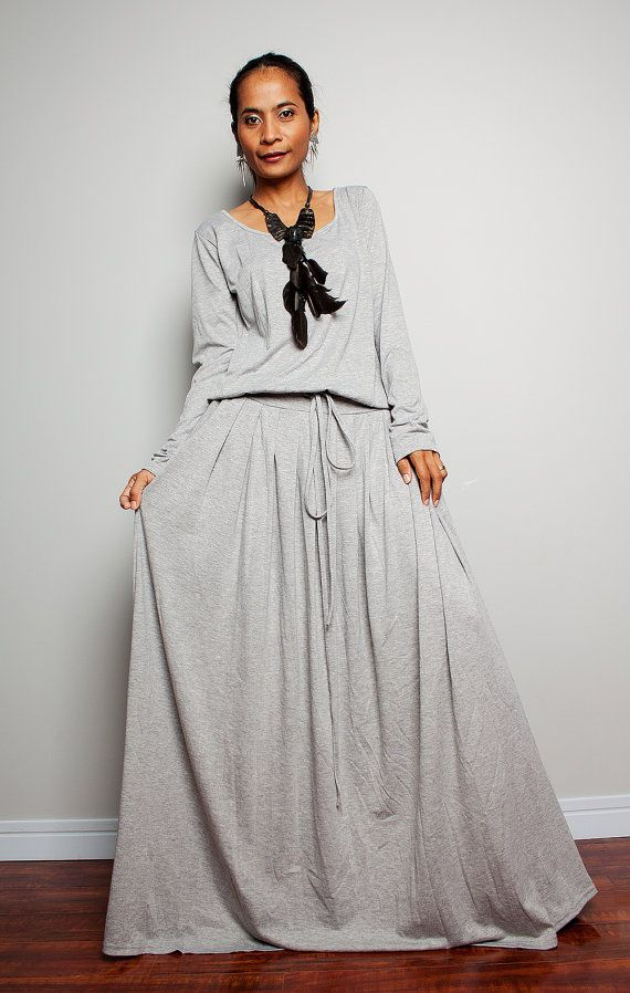 PLUS SIZE Maxi Dress - Light Grey Long Sleeve dress : Autumn ...