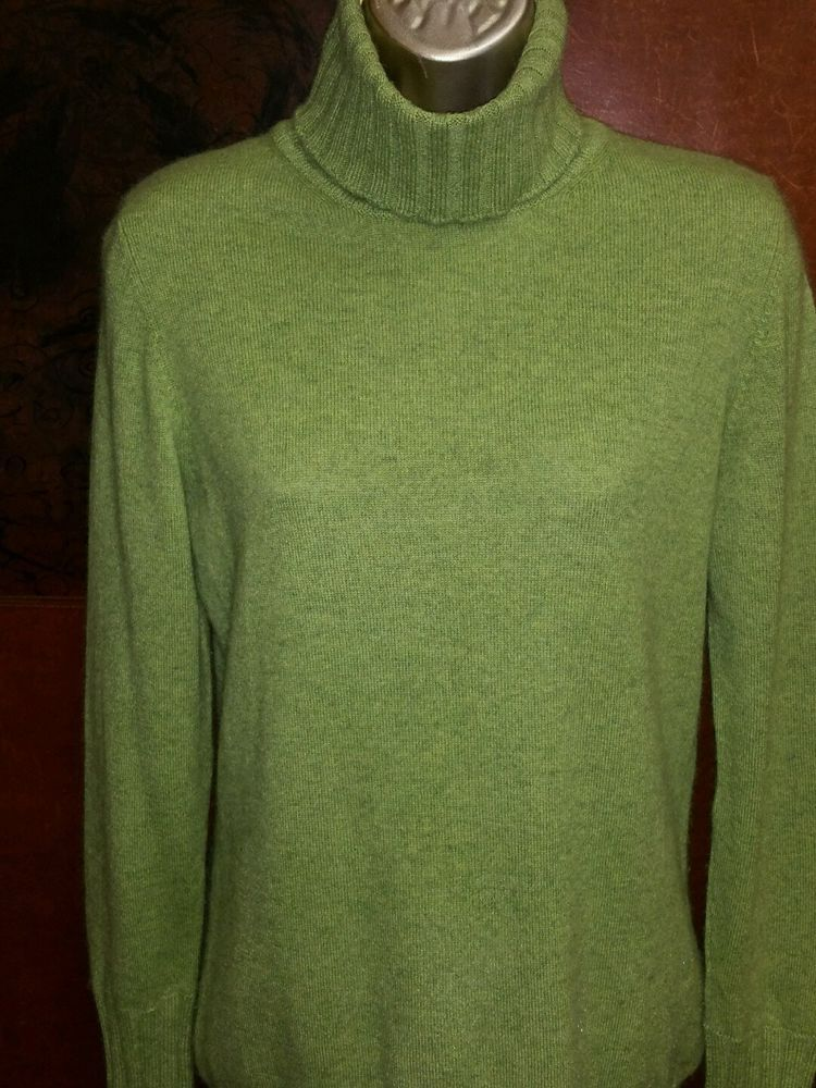 Kinross lime green turtle neck cashmere sweater. Never worn sz m ...