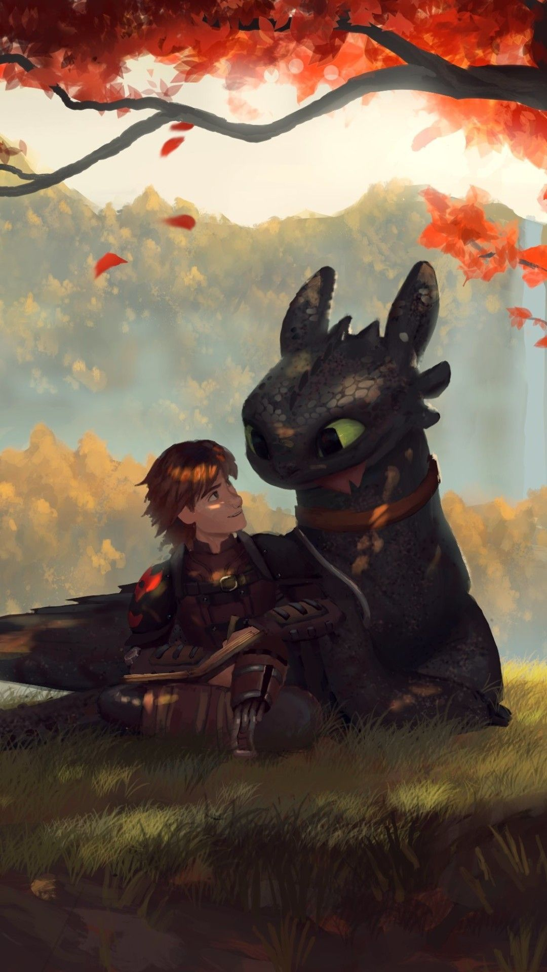 Toothless And Hiccup Fanart Mobile Wallpaper (iPhone