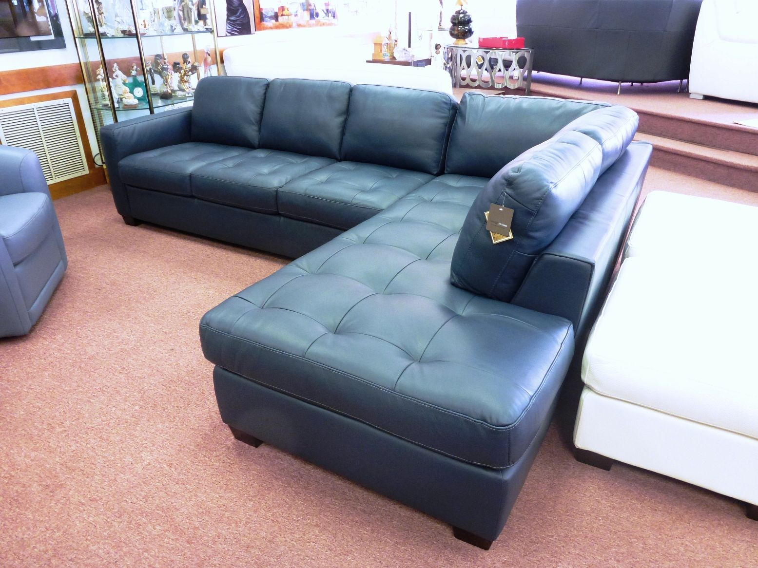 Awesome Navy Blue Leather Sofa Bed Trend Navy Blue Leather Sofa