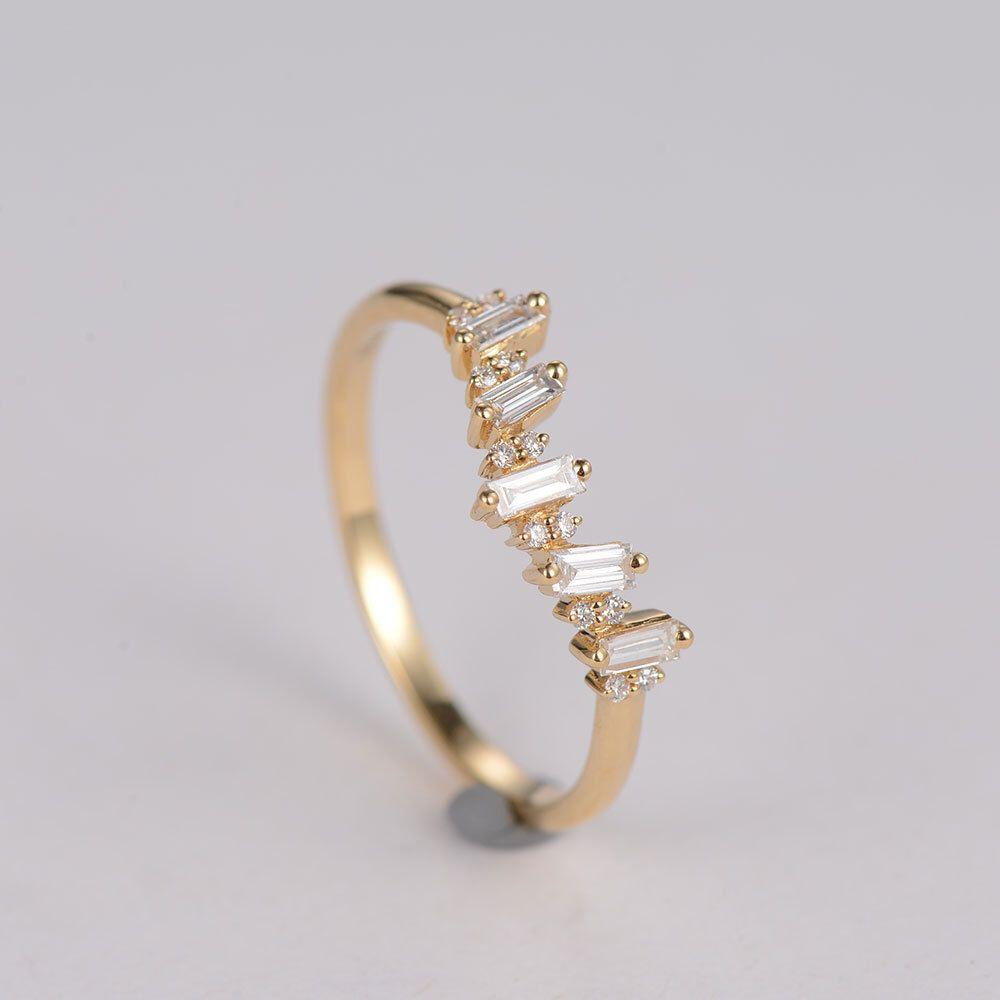 dainty wedding bands Curved Diamond Ring Dainty Wedding Ring Diamond Wedding Band Anniversary ring Arc Chevron