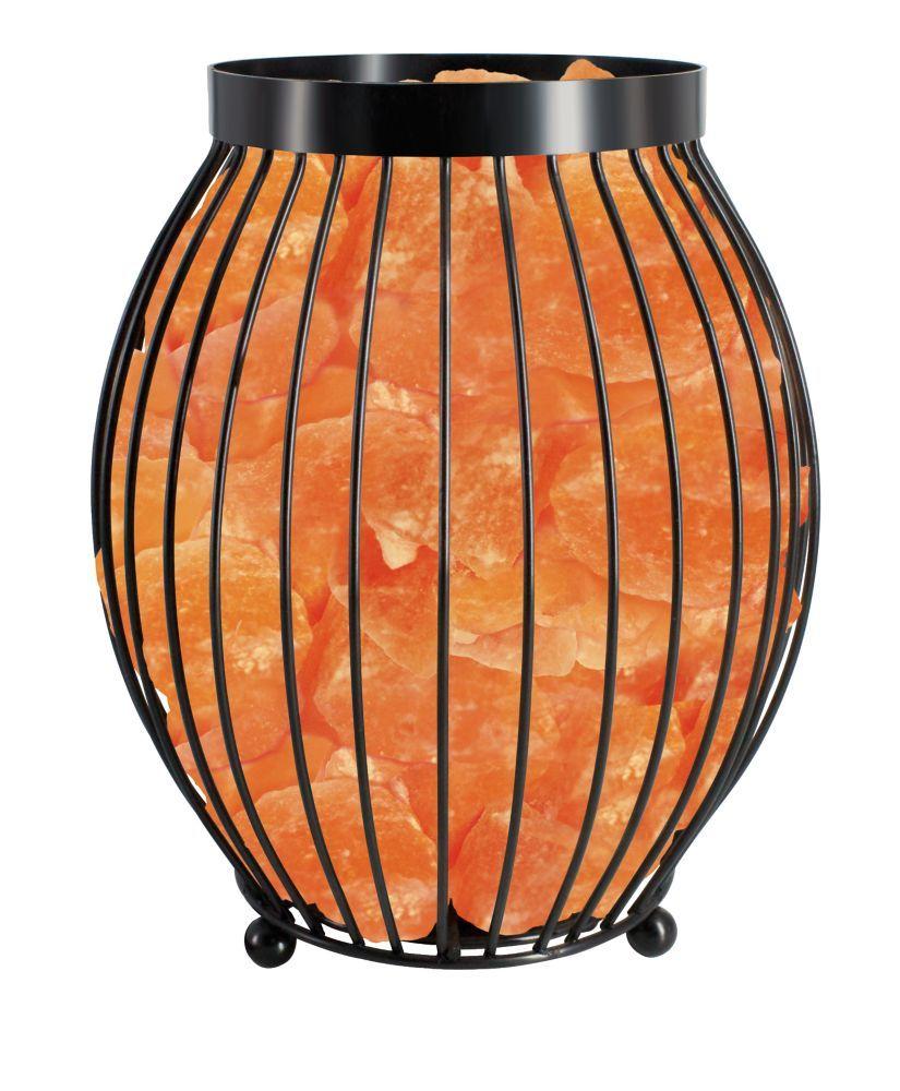 Oval Basket Lamp With Salt Crystal Chunks Table Lamp Himalayan Salt Crystals Himalayan Salt Lamp