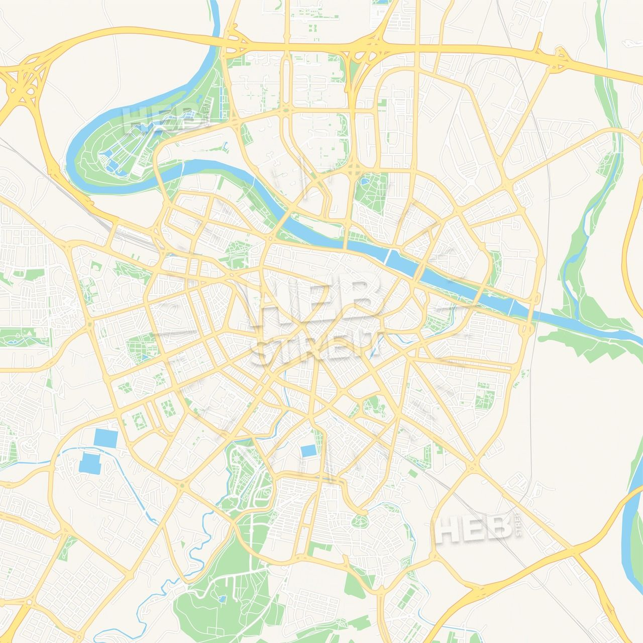 Zaragoza, Spain Vector Map - Clic Colors | Maps Vector Downloads on