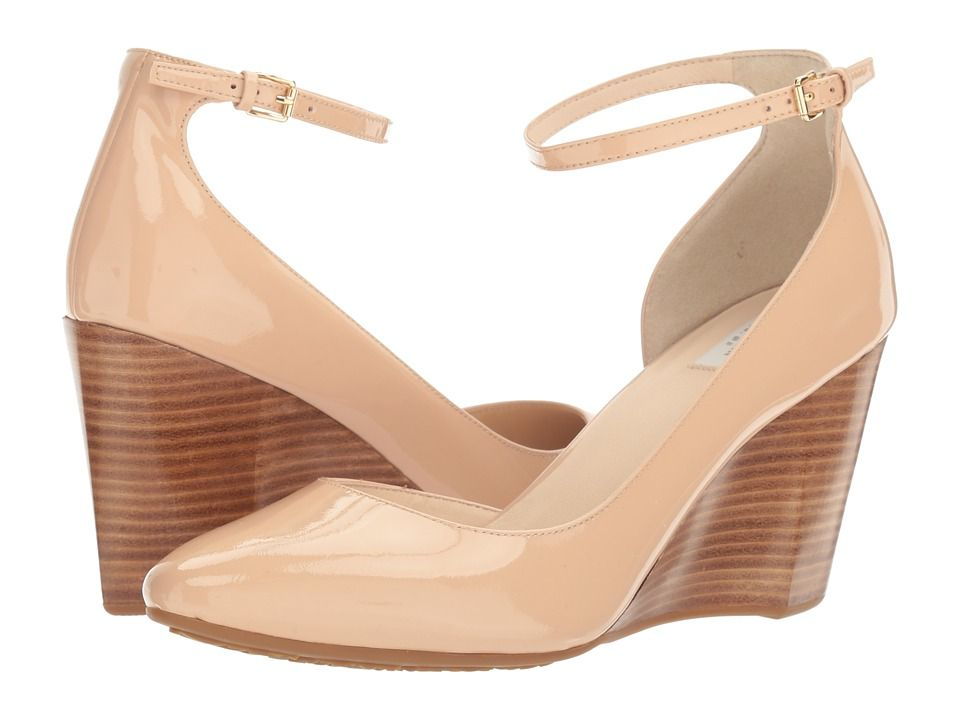 3b6258499c90 Cole Haan Lacey Ankle Strap Wedge 85mm Women s Wedge Shoes Nude Patent