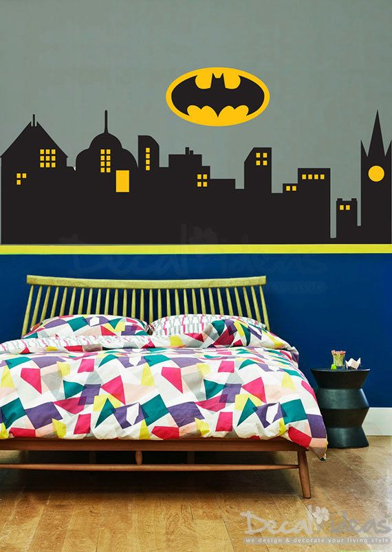 Superhero Wall Decal - City Skyline Vinyl Decal - Gotham City ...