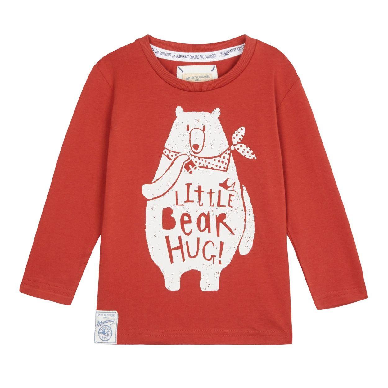 Mantaray Boy S Red Bear Hug Long Sleeve Top At Debenhams Com Long Sleeve Tops Tops Mantaray [ 1250 x 1250 Pixel ]