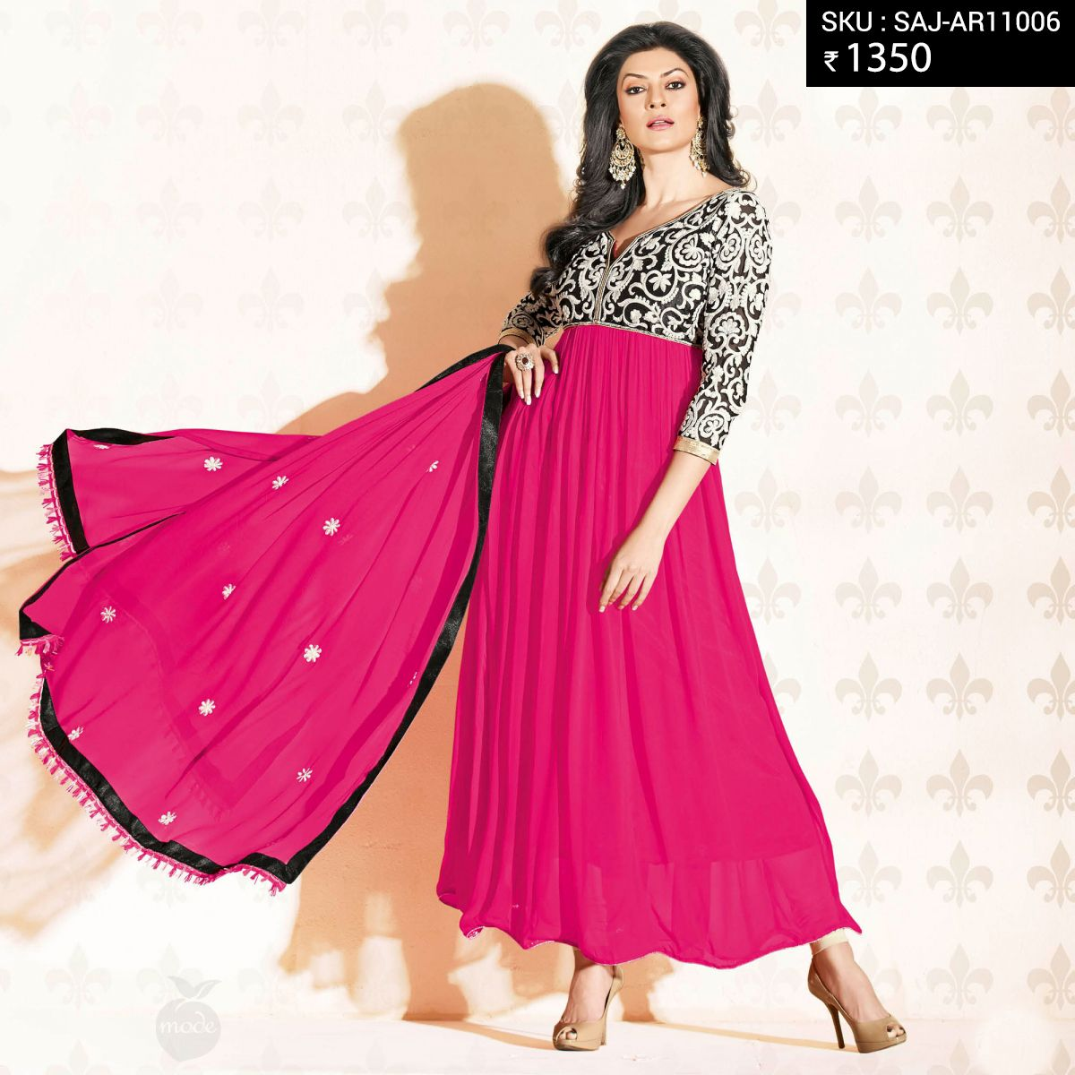 Be as gorgeous as #sushmitasen in these Stunning Anarkalis at just 1350/-   #sushmitasen #pink #red #blue #black #fashion #bollywood #musthave #peachmode #getitnow #piniit #pins #boards #fashionboards #women