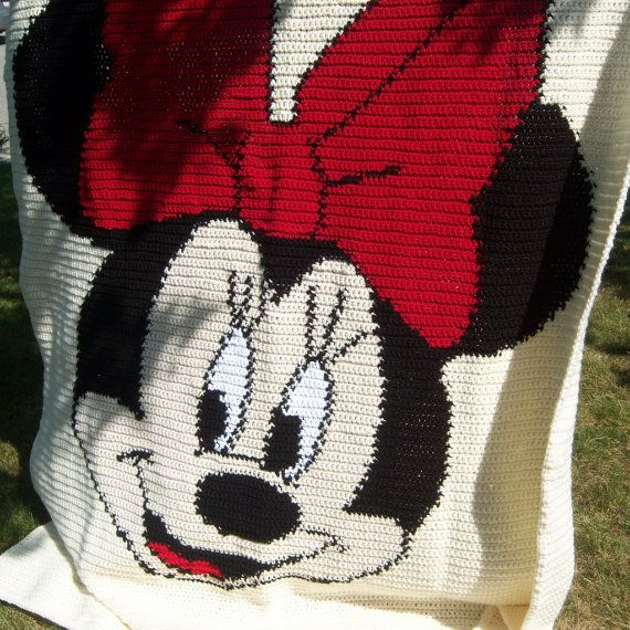 Minnie Mouse Crocheted Blanket - 54 x 68 inches - Made to Order - 8 ...