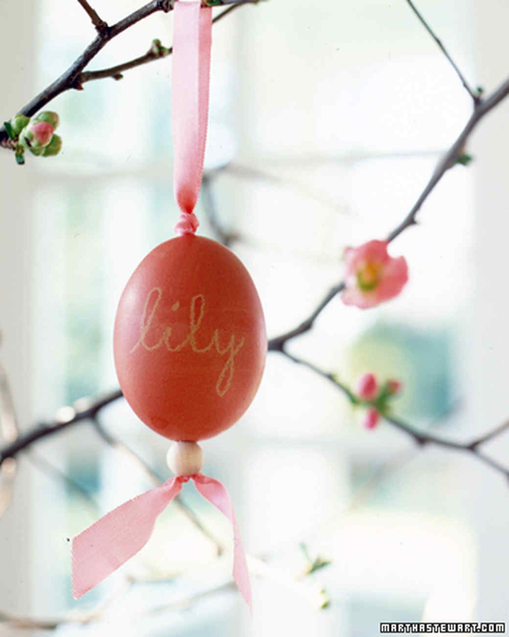 Ornaments with names on them - Beaded Egg Ornaments Martha Stewart Living Personalize Your Easter Eggs And Turn Them Into