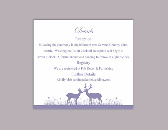 DIY Wedding Details Card Template Editable Word File Instant - invitation information template