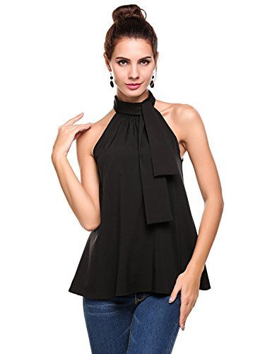 d262987266084 Meaneor Women s Summer Chiffon Sleeveless Office Blouse Tank Shirt Halter Neck  Tie Back Solid Tops Black