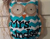 Owl Burlap Door Hanger Chevron Pattern Personalized