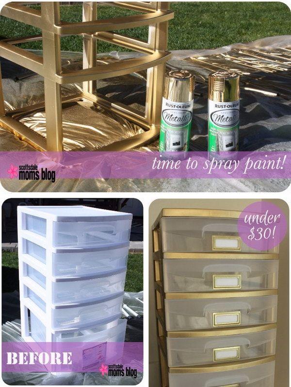 Des Tiroirs De Rangement En Plastique Diy Crafts For Bedroom Diy Drawer Organizer Spray Paint Projects