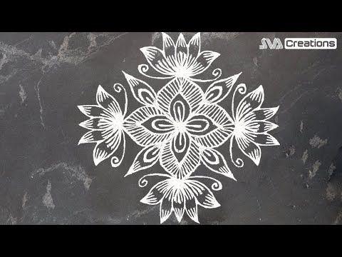 Creative lotus flower rangoli design with dots kolam chukkala muggulu designs youtube also rh pinterest