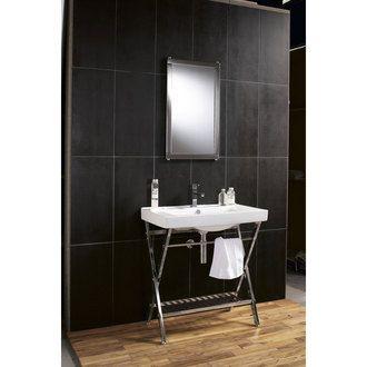 Meuble Vasque Treteau Metal 1 Etagere L80xh87cm 1 Miroir 76 5x44 5cm New York Sensea Port Offert