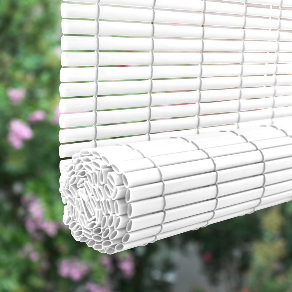 White Cordless Light Filtering Uv Protection Vinyl Manual Roll Up Sun Shade 60 In W X 72 In L 3320157 The Home Depot In 2020 Outdoor Sun Shade Outdoor Shade Shade Cover