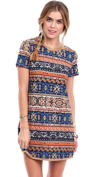 Bohemia Printed Textured Shift Dress
