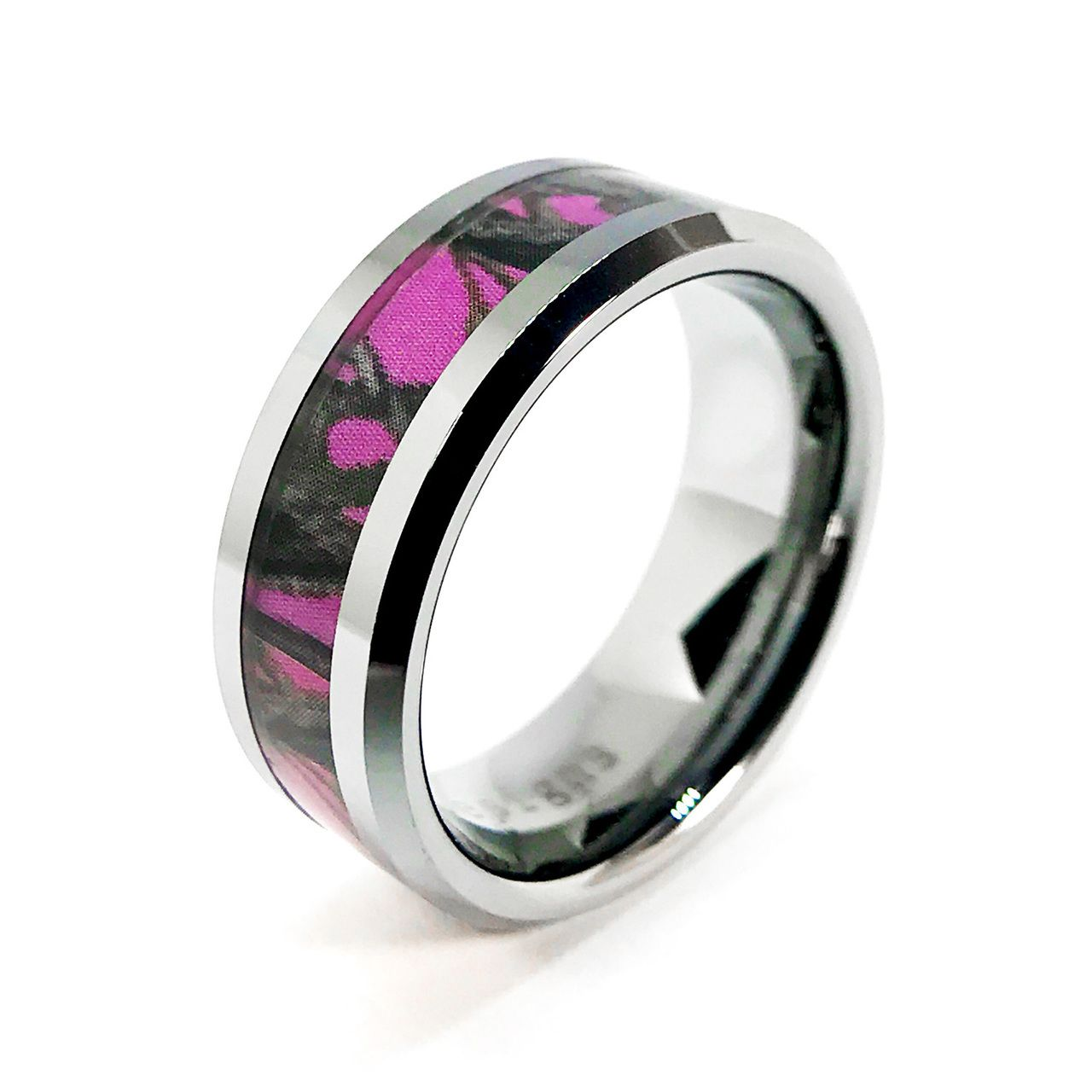 Huntress pink camouflage ring for women tugsten band