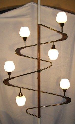 Teak Tension Pole Light Mid Century