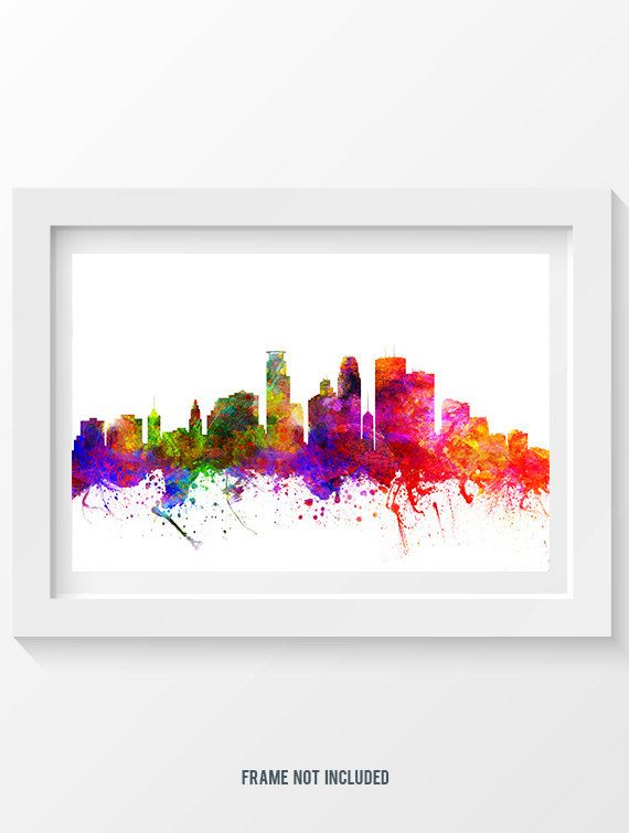 Minneapolis Minnesota Skyline In Color Poster Home by Agedpixel