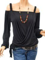 Amazon.com: Patty Women Unique Cut Out Shoulder Bell Sleeve Boho Blouse Top: Clothing