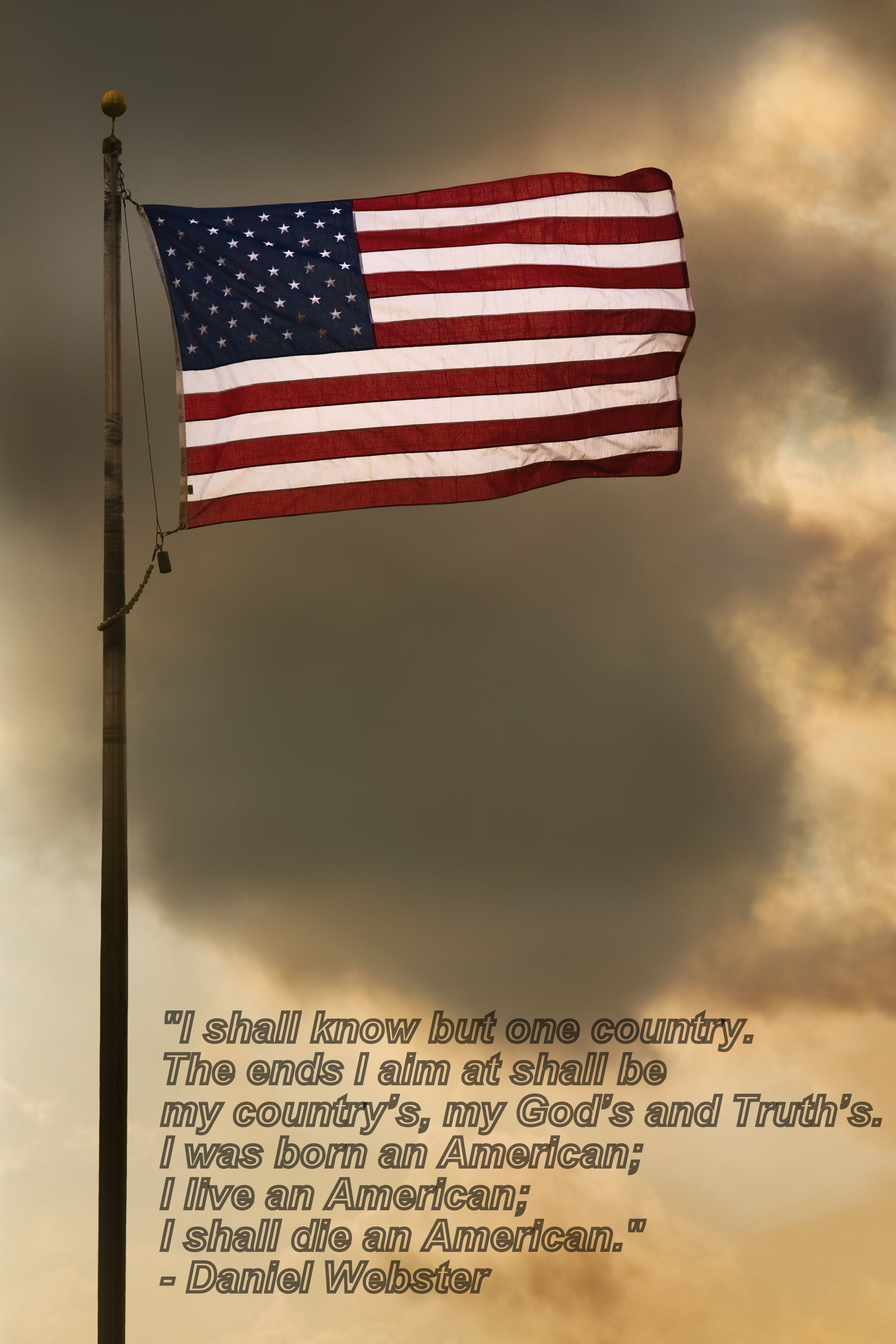 """...I was born an American, I live an American, I shall die an American."" ~ Daniel Webster"