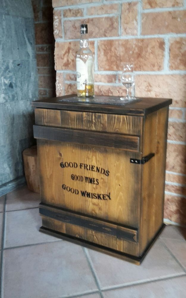 Mini Bar Whiskey Frachtkiste shabby vintage Schrank Whisky - Schrank Für Wohnzimmer