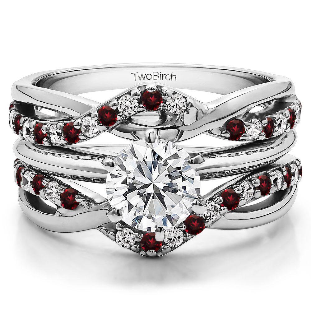 Diamond and Ruby Criss Cross Infinity Ring Guard Enhancer