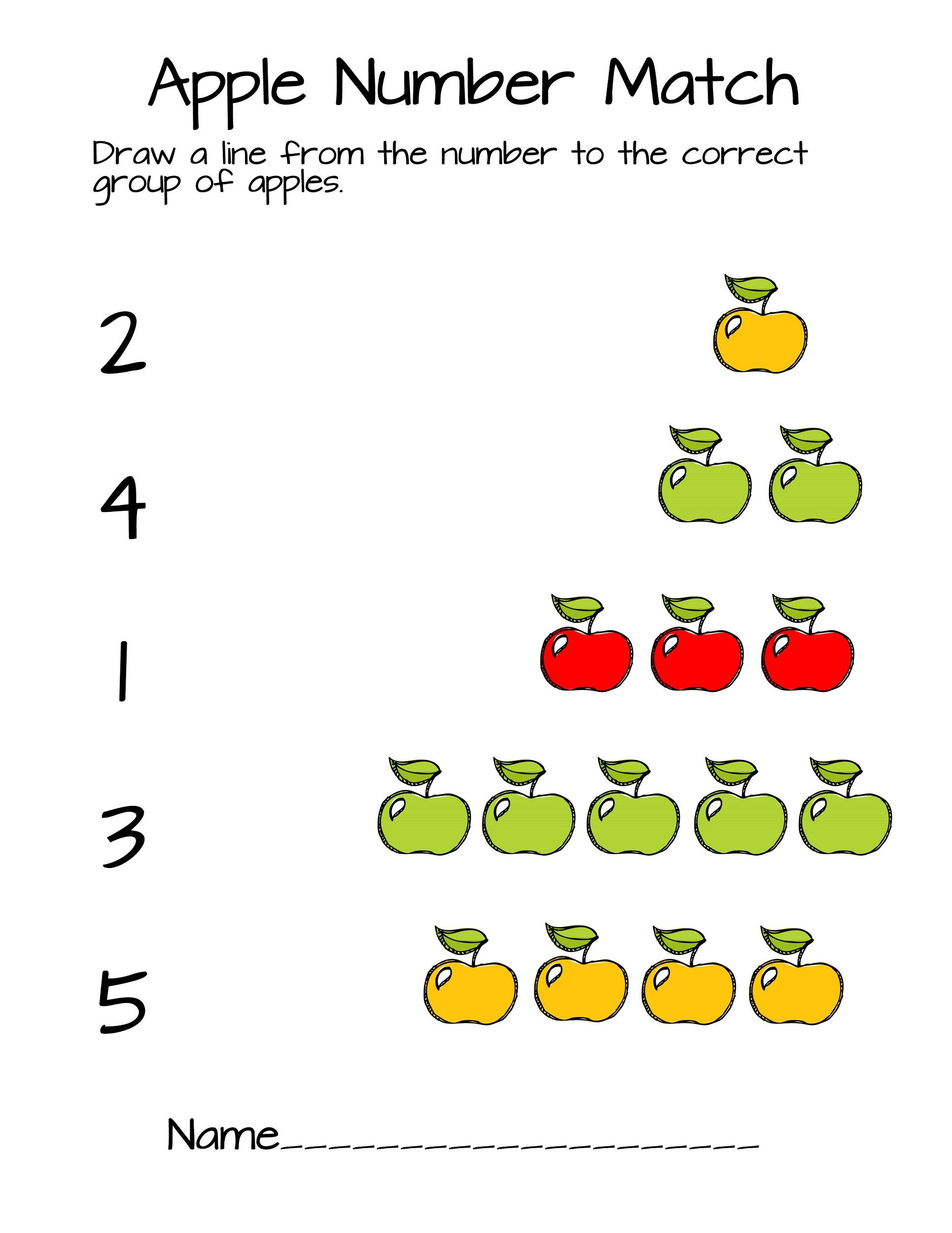 Pre K Number Worksheets Apple Counting
