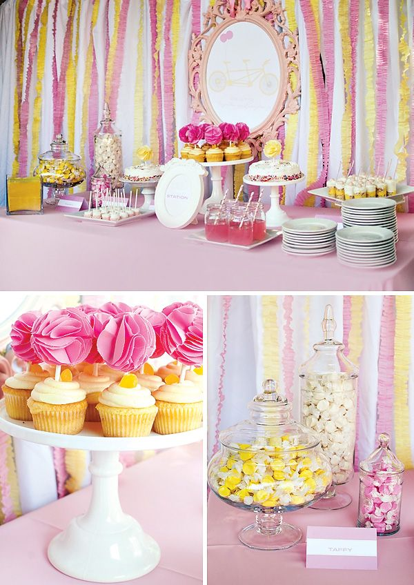 Pink Yellow Twin Girls Baby Shower Parties Pinterest Baby