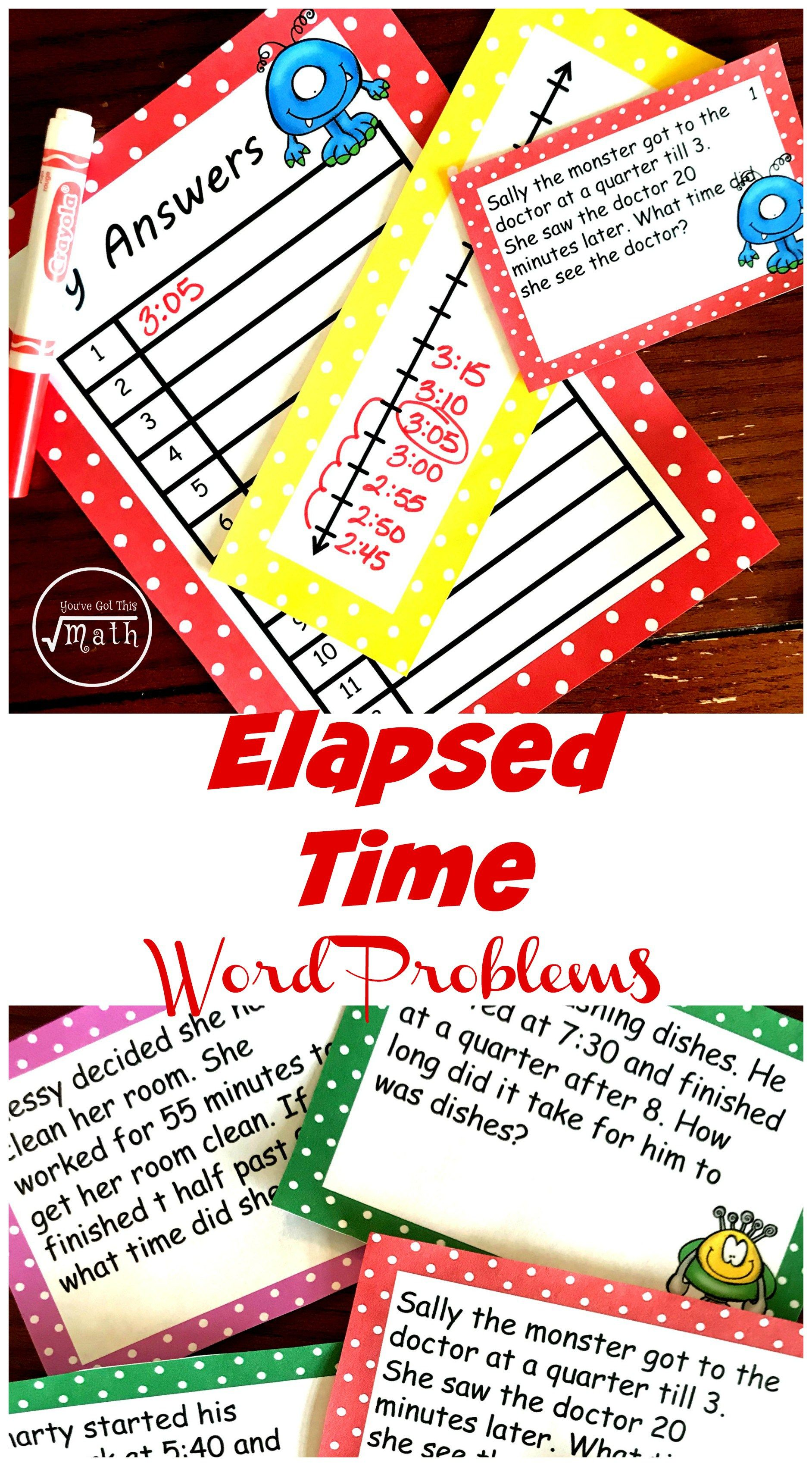 12 Free Monster Themed Elapsed Time Word Problems