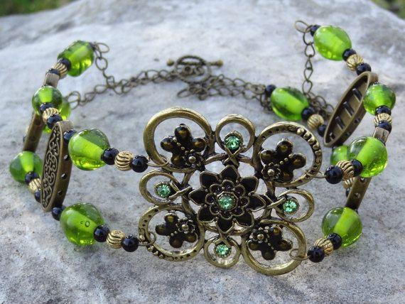 Green and Brass Choker - $20