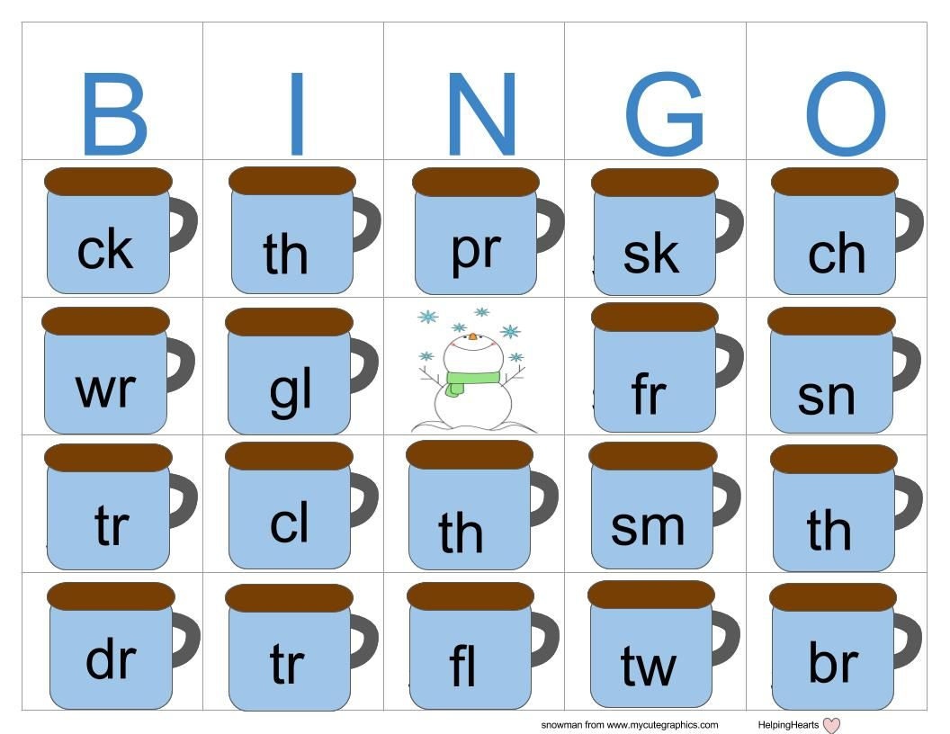 Consonant Cluster And Consonant Digraph Winter Bingo