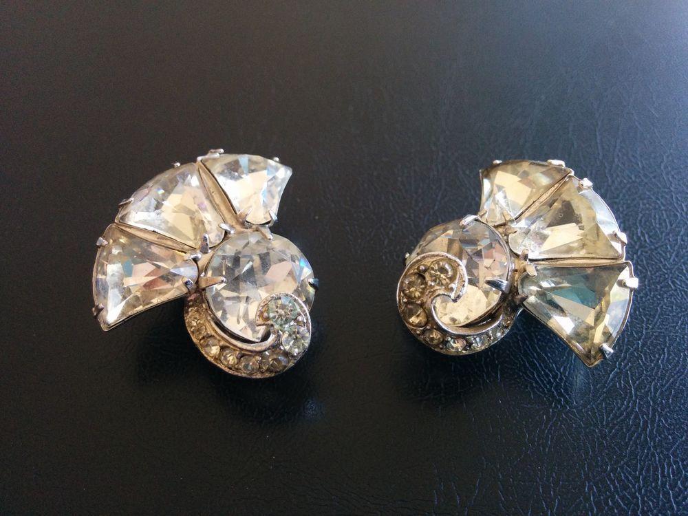 Signed BOGOFF Vintage Earring Clip Flower Fan Swirl Clear